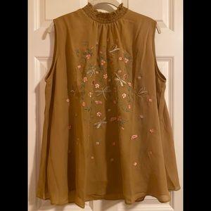 NWT Sheryl Crow sleeveless lined blouse.